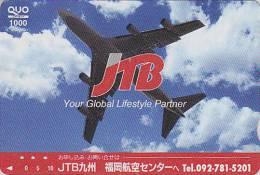 Carte Prépayée Japon - AVION - JTB - Airplane Airline Japan Prepaid Card - Flugzeug Quo Karte - Aviation 309 - Vliegtuigen