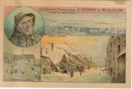 CHROMO OFFERT PAR CAFE MARTIN - Saint Pierre Et Miquelon 4 Vues : Séchage Morue, Saint Pierre, Rade, Pecheur - Tea & Coffee Manufacturers
