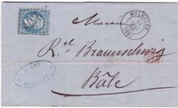 1868- Lettre De MULHOUSE ( Ht Rhin ) Cad T15 Affr. N°22 Oblit. G C 2578  Pour BÂLE  ( FRONTALIER ) - Marcophilie (Lettres)