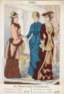 Grand Chromo Mode Robe Chapeau Au Printemps Universel 1880 Litho Fuytynck Bajart Bruxelles - Chocolat