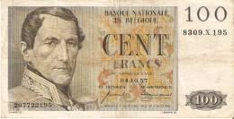 BILLETE DE BELGICA DE 100 FRANCOS DEL AÑO 1957   (BANK NOTE) 04.10.57 - [ 2] 1831-... : Reino De Bélgica
