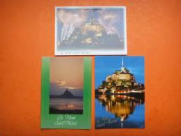 37) Mont Saint Michel:3 Cp Superbes : Feu D'artifice, De Nuit Ou Illumine: Scan Recto Verso : En L´etat - Le Mont Saint Michel