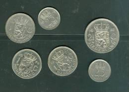 Lot 6 Pieces Pays Bas , 2 12 Gulden  (1980) , 3 X 1 Gulden ( 1969,1978,1977) , 2 X 25 Cents (1948, 1979) - Pieb06 - [ 3] 1815-…: Königreich Der Niederlande