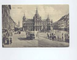 Graz  Rathaus, Tramway  1913  2 SCANS - Austria