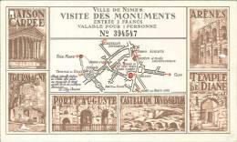 Ville De Nimes - Visite Des Monuments - Entrée = 2 Francs - Tickets D'entrée