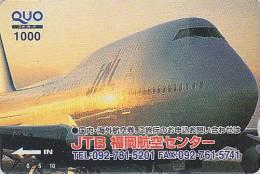 Carte Prépayée Japon - AVION - JAL / JTB - Airplane Airline Japan Prepaid Card - Flugzeug Quo Karte - 333 - Vliegtuigen