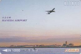 Carte Prépayée Japon - AVION / Haneda Airport - Airplane Airline Japan Prepaid Card - Flugzeug Keikyu Karte - 334 - Airplanes