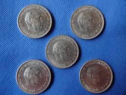 Espagne Spain Spain Lot 5 X 5 Pesetas Franco 1949 *49 15g Niquel Uncirculated Muy Buena Conservación. Ver Fotos - [ 5] 1949-… : Reino