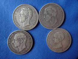 Espagne Spain Lot 4x 5 Pesetas Argent Silver 25g 0,9 Amadeo I 1871 Alfonso XII 1876-83 Alfonso XIII 1891 Ver  Fotos - [ 1] …-1931 : Reino