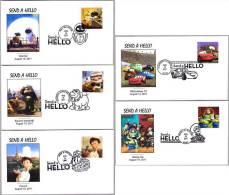 PIXAR: CARS, TOY STORY, UP, WALL-E Y RATATOUILLE. DISNEY. Set 5 SPD/FDC. 2011 - Film