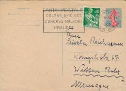 France 1960 Postal Stationery Postcard 20 C. + 10 C. Machine Cancellation Congress Of Ills And Disabled Persons - Malattie