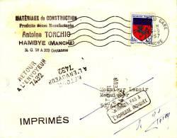PNU 1503 Imprimés Saint-Lo Gare Rabat Ouvert Airel Chiffres De Retour 7432 - Marcophilie (Lettres)