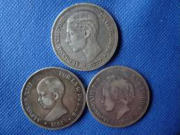 Espagne Spain España Lot 3x 5 Pesetas Argent Silver 25g 0,900 Alfonso XII 1877 Alfonso XIII 1891-94 Ver Fotos - Colecciones