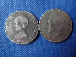 Espagne Spain España Lot 2x 5 Pesetas Argent Silver 25g 0,900  Alfonso XIII 1891-94 Ver Fotos - [ 1] …-1931 : Reino