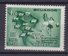 Ecuador 1956 Mi. 925     1.70 S Südamerikanische Frauen-Basketball-Meisterschaft Karte Map Flag Flagge MH* - Equateur