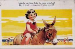 Illustrateur:A.Taylor.Fillette Sur Un âne.~1930. - Taylor