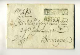 DC193-1823 Lettera Contenuto AMANDOLA-BEVAGNA Vai ASCOLI-timbro LINEARE VERDE ASCOLI+cartella GONFALONIERE Di AMANDOLA - 1. ...-1850 Prephilately