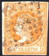 02-087 SPAIN 1860 EDIFIL 52 USADO MARSELLA RRR LUJO DOBLE MARQUILLA ROIG BARCELONA SPANIEN ESPAGNE SPANJE - 1850-68 Königreich: Isabella II.