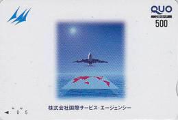 Carte Prépayée Japon - AVION & Mappemonde - Airplane & Map Globus Japan Prepaid Card - Flugzeug Quo Karte - 338 - Avions