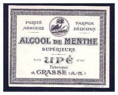 ETIQUETTE UPE - GRASSE - ALCOOL DE MENTHE SUPERIEURE - Etiquettes