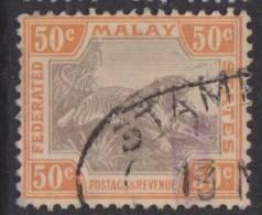 FMS 1922 50c Black/orange Tiger SG 74b U XY027 - Federated Malay States