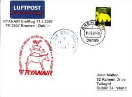 Erstflugpost - Ryanair - Bremen - Dublin - 11.05.2007 - Nebenstempel Mit Märchenmotiv [dx44a] - Esel