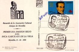 TARJETA MATASELLOS ¨PRIMER DIA CORDOBA. INCA GARCILASO DE LA VEGA. 1991 - Marcofilia - EMA ( Maquina De Huellas A Franquear)