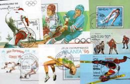 7 Motive Blocks Winter-Sport Sommer-Olympiade Laos Block O 12€ Olympische Ringe Topics Bloc Summer Olympic Sheet Of Lao