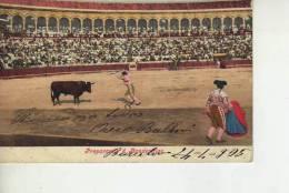 CORRIDA DE TOROS PREPARASDE A BANDERILLAS  AÑO 1905  CIRCULADA   OHL - Corrida