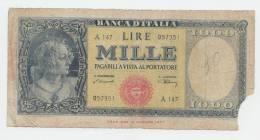Italy 1000 Lire 10-2- 1948 G-VG RARE Banknote P 88a - [ 2] 1946-… : République
