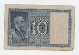 Italy 10 Lire 1938 VF (missing Edge) P 25b 25 B - [ 1] …-1946 : Koninkrijk
