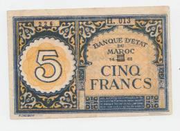 Morocco 5 Francs 1943 VF++ Banknote P 33 - Marokko