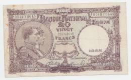 Belgium 20 Francs 1944 VF+ CRISP Banknote P 111 - [ 2] 1831-... : Koninkrijk België