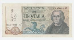 ITALY BANCA D'ITALIA 5000 LIRE 1973 VF+ P 102b - [ 2] 1946-… : Repubblica