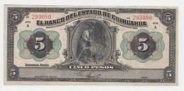Mexico 5 Pesos Estado De Chihuahua Dec 12, 1913 VF+ - México