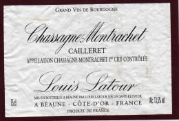 Étiquette  De CHASSAGNE - MONTTRACHET . Cailleret. 1er Cru - Louis Latour à Beaune - Bourgogne