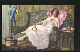 CPA Artistes Alfred Mailick: Frau Sitzt Auf Ihrem Sofa Und Trinkt Tee - Mailick, Alfred