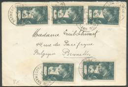 N°337 (x5)  Obl. Sc PARIS Boulevard Haussmann S/Lettre Du 26-06-1937 Vers Bruxelles.  Très Frais - 8601 - France