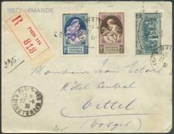 N°440-1-444 Obl. Sc PARIS R. D´AMSTERDAM S/lettre Recommandée Du 27-6-1939 Vers Vittel - 8610 - Storia Postale