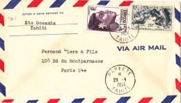 9202# LETTRE PAR AVION Obl PAPEETE TAHITI 1954 VIA AIR MAIL Pour PARIS