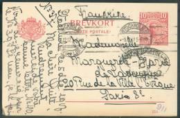 EP Carte 10 öre Obl. Mécanique STOCKHOLM Du 5-12-1917 Vers Paris + Censure OUVERT PAR L´AUTORITE MILITAIRE/12 - 8621 - Entiers Postaux