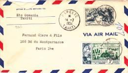 9203# LETTRE PAR AVION Obl PAPEETE TAHITI 1954 VIA AIR MAIL Pour PARIS