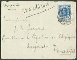10 Kop. (Nicolas Ier) Obl.  Dc Saint-PETERSBOURG S/Lettre Du 27-10-1914 Vers Madrid + Verso : Cachet Rond Violet Censure - 1857-1916 Empire