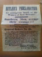 Documento Histórico. Proclamación General Butler. 1862. Confederación. Guerra De Secesión Americana. 1861-1865. - Documentos