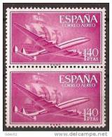 ES1174-LA974TA.Spain Espagne SUPER-CONSTELLATION Y NAO SANTA MARIA 1955/56.(Ed.1174**)sin Charnela LUJO  BLOQUE DE 2 - Nuevos & Fijasellos