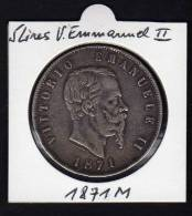 ITALIE. Ecu 5 Lires VITTORIO EMMANUEL II. 1871 M - 1861-1946 : Kingdom
