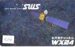 Télécarte Japon SATELLITE (514) ESPACE * TERRESTRE * MAPPEMONDE * TELEFONKARTE * Phonecard JAPAN * - Espacio