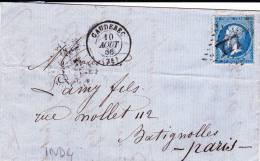 1866 - SEINE MARITIME - LETTRE De CAUDEBEC Avec GC 777 -  IND 4