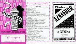 """Dépliant 5 Feuillets """"SPECTACLES"""" PARIS 1955 [Charles Aznavour, Colonne MORRIS, Théatres, Opérette] (131)_D255 - Programma's"""