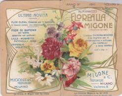 """CALENDARIETTO  """"FLOREALIA MIGONE LINGUAGGIO DEI FIORI"""" 1911 ANNO 9° VOUME 9° MIGONE  MILANO -  2 -0882 -15105-104 - Petit Format : 1901-20"""